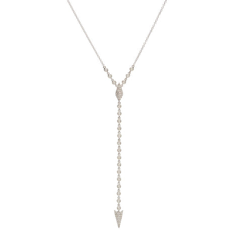 14k White Gold Drape Down Diamond Dagger Necklace