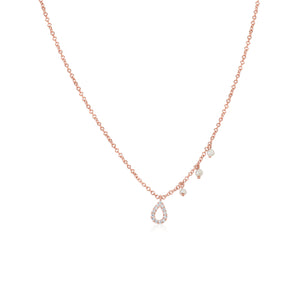 Rose Gold Tear Drop Diamond Necklace