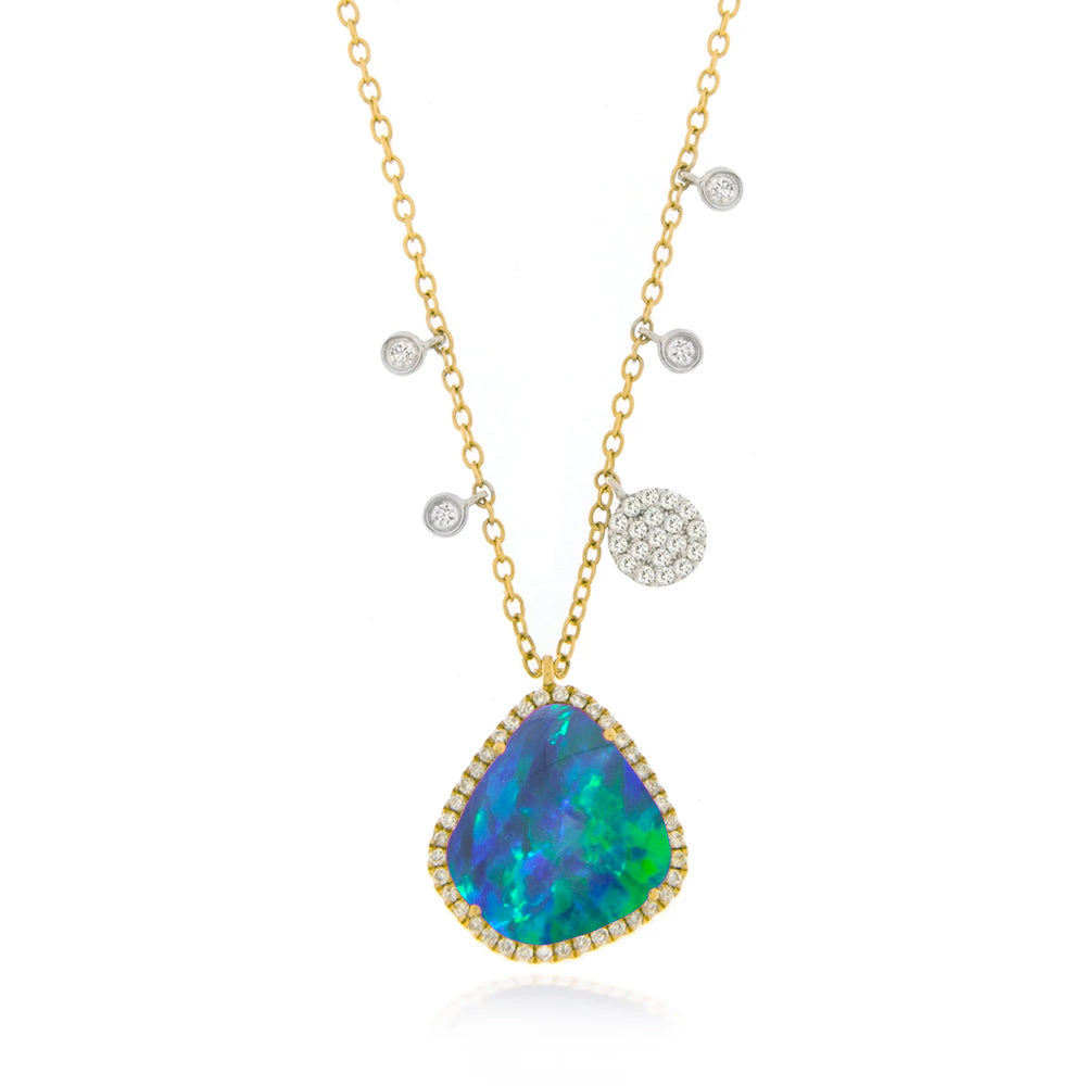 Opal Necklace with diamond charms and bezels Yellow Gold