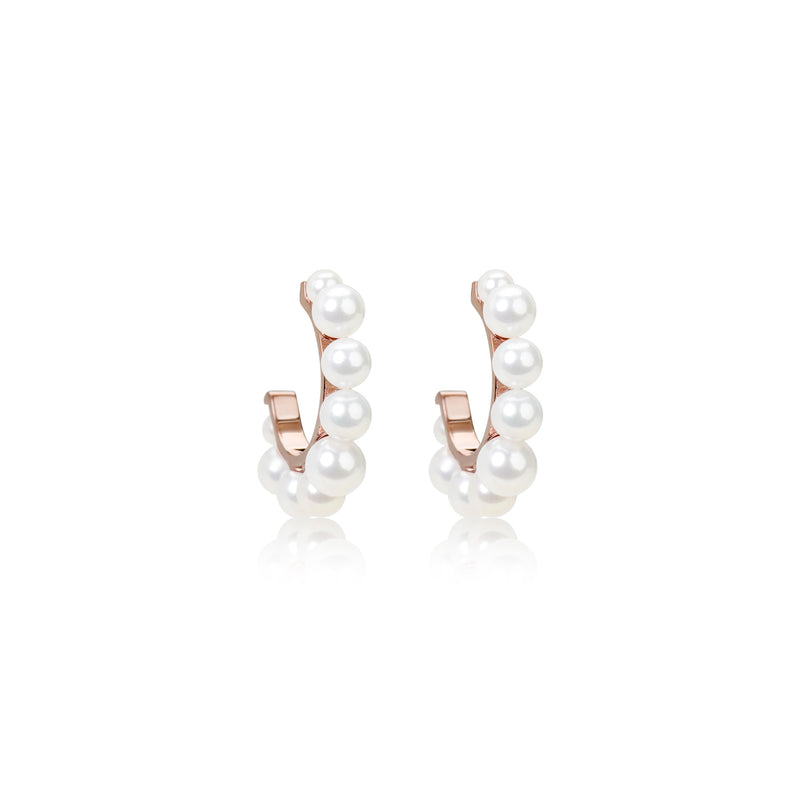 Rose Gold Plated Pearl Hoop Earrings
