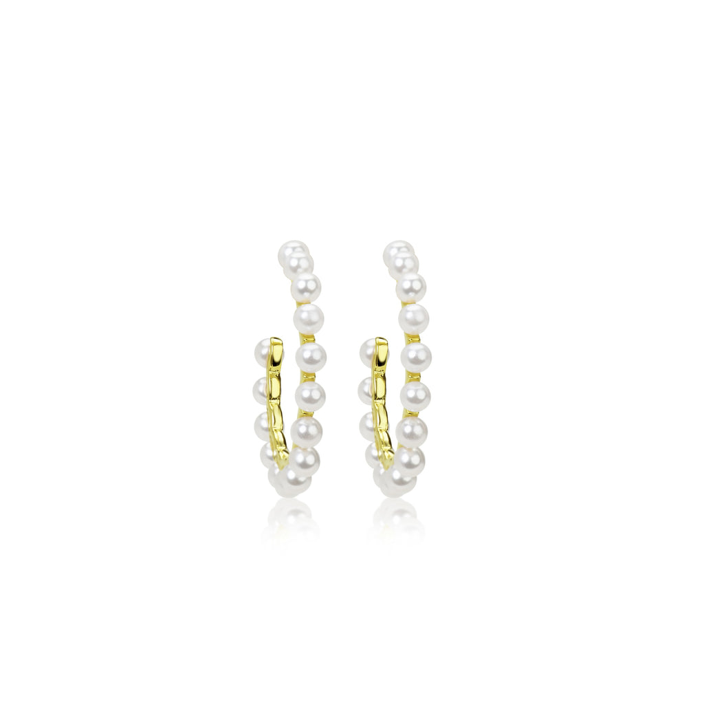 Medium Size Yellow Gold Plated Pearl  Hoop Earrings