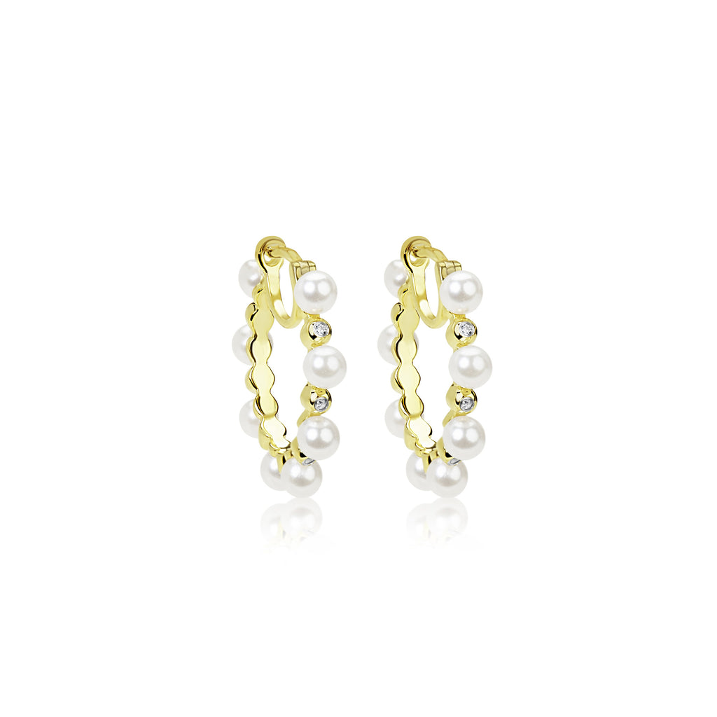 Medium Size Yellow Gold Plated Alternating Pearl and CZ  Hoop Earrings