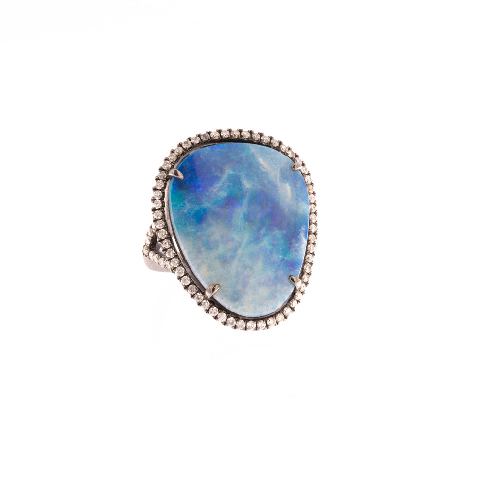 Boulder Opal Diamond Encrusted Silver Ring