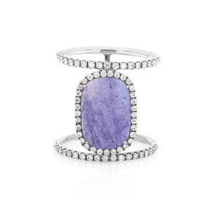 Tanzanite Double White Gold Ring