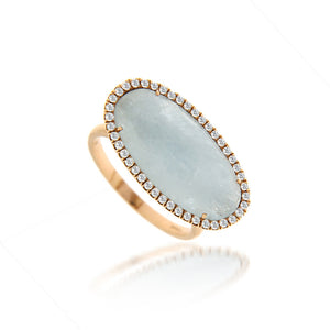 Milky Aqua Diamond Ring