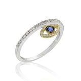 14k, Diamond and Blue Sapphire Evil Eye Ring