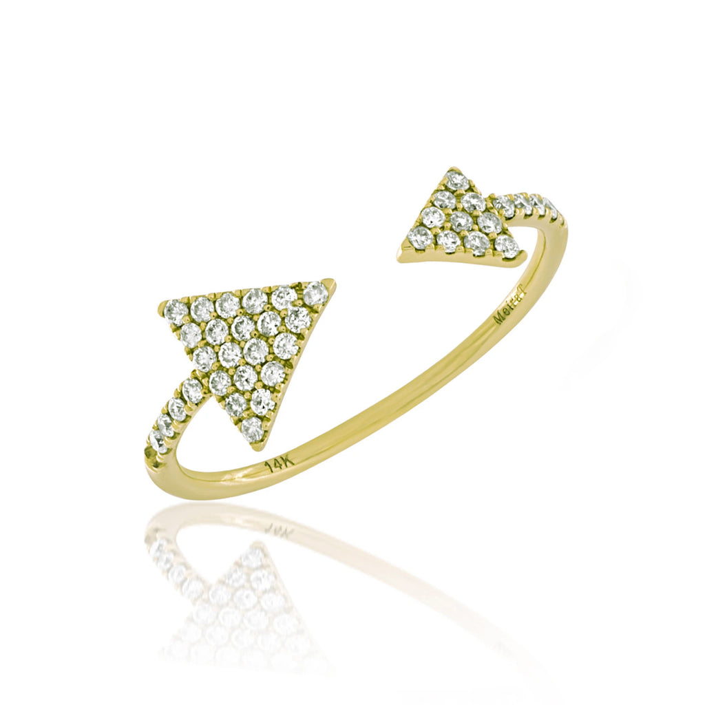 Pave Yellow Gold Diamond Open Arrow Ring
