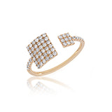 Diamond Double Square Rose Gold Diamond Ring