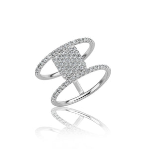 Pave Finger Ring Double Band