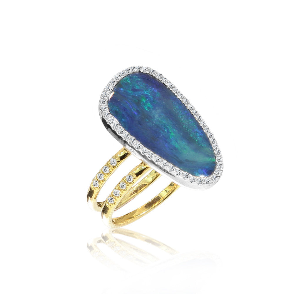 Two Band Australian Opal Diamond Ring in Yellow Gold