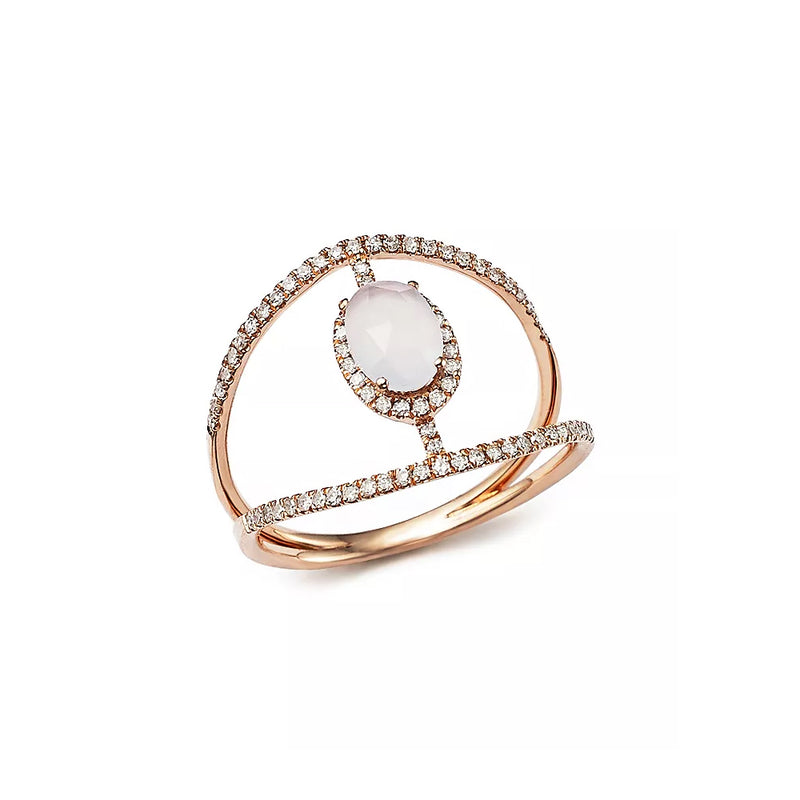 Rose Gold Chalcedony Diamond Ring
