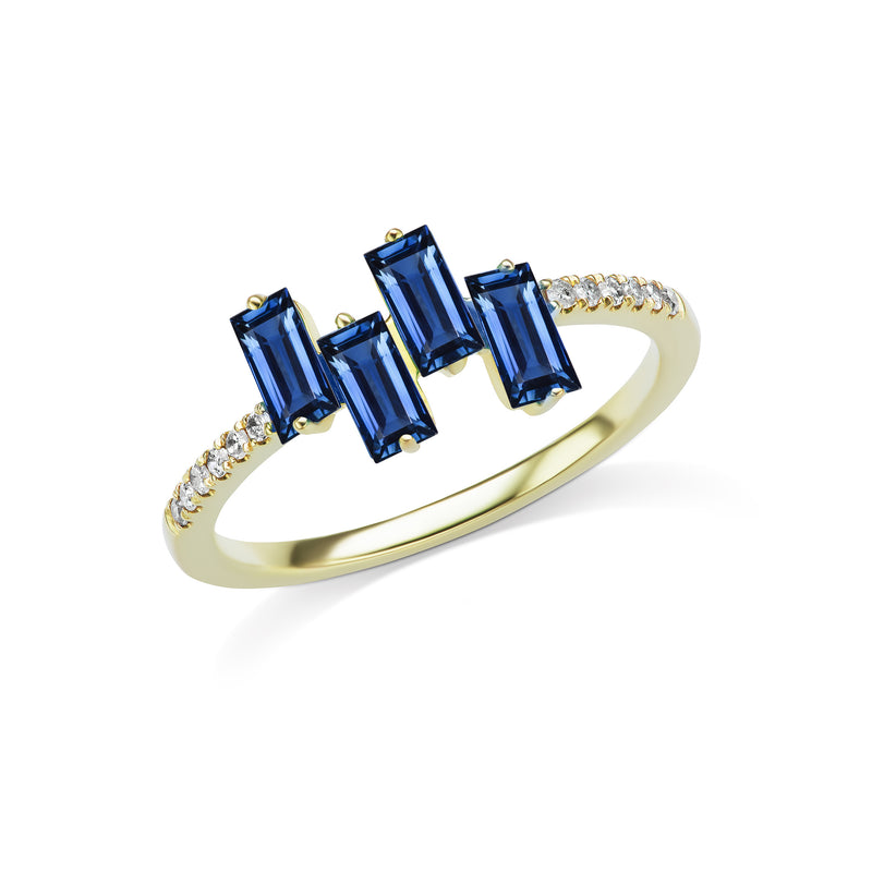 Yellow Gold Baguette-Cut Blue Sapphire Ring