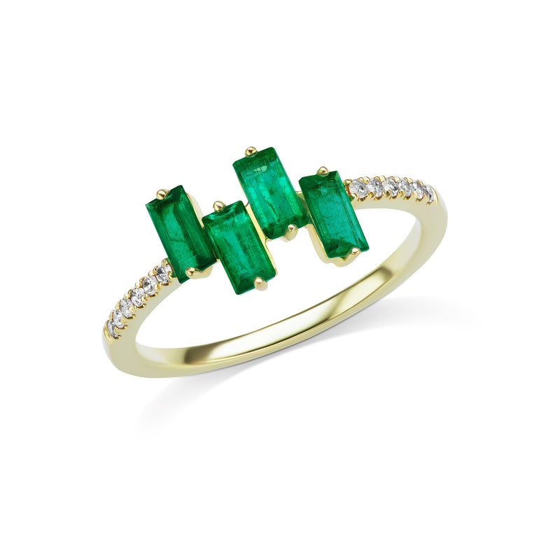 Yellow Gold Baguette-Cut Emerald Ring