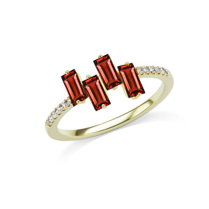 Yellow Gold Baguette-Cut Ruby Ring