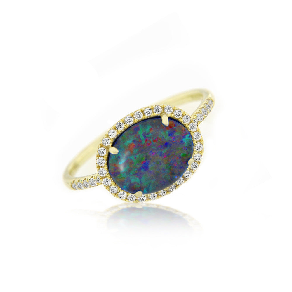 Yellow Gold Opal Diamond Ring