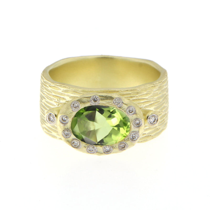 Peridot Yellow Gold Diamond Chunky Ring