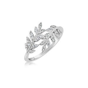 White Gold Leaf and Diamonds Ring