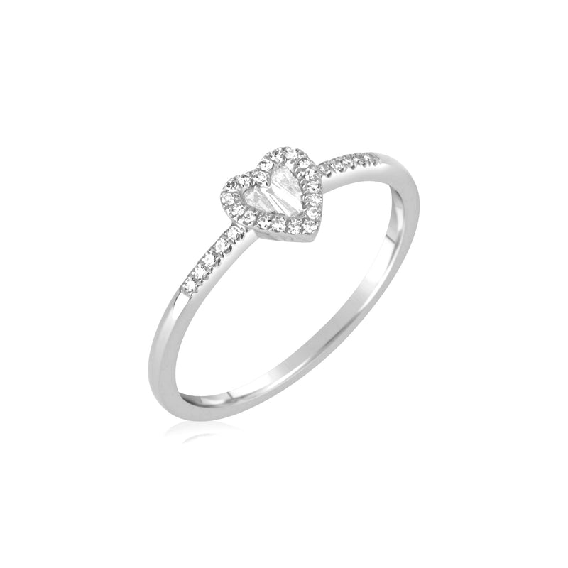 White Gold Diamond Baguette Heart Ring
