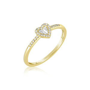 Yellow Gold Diamond Baguette Heart Ring