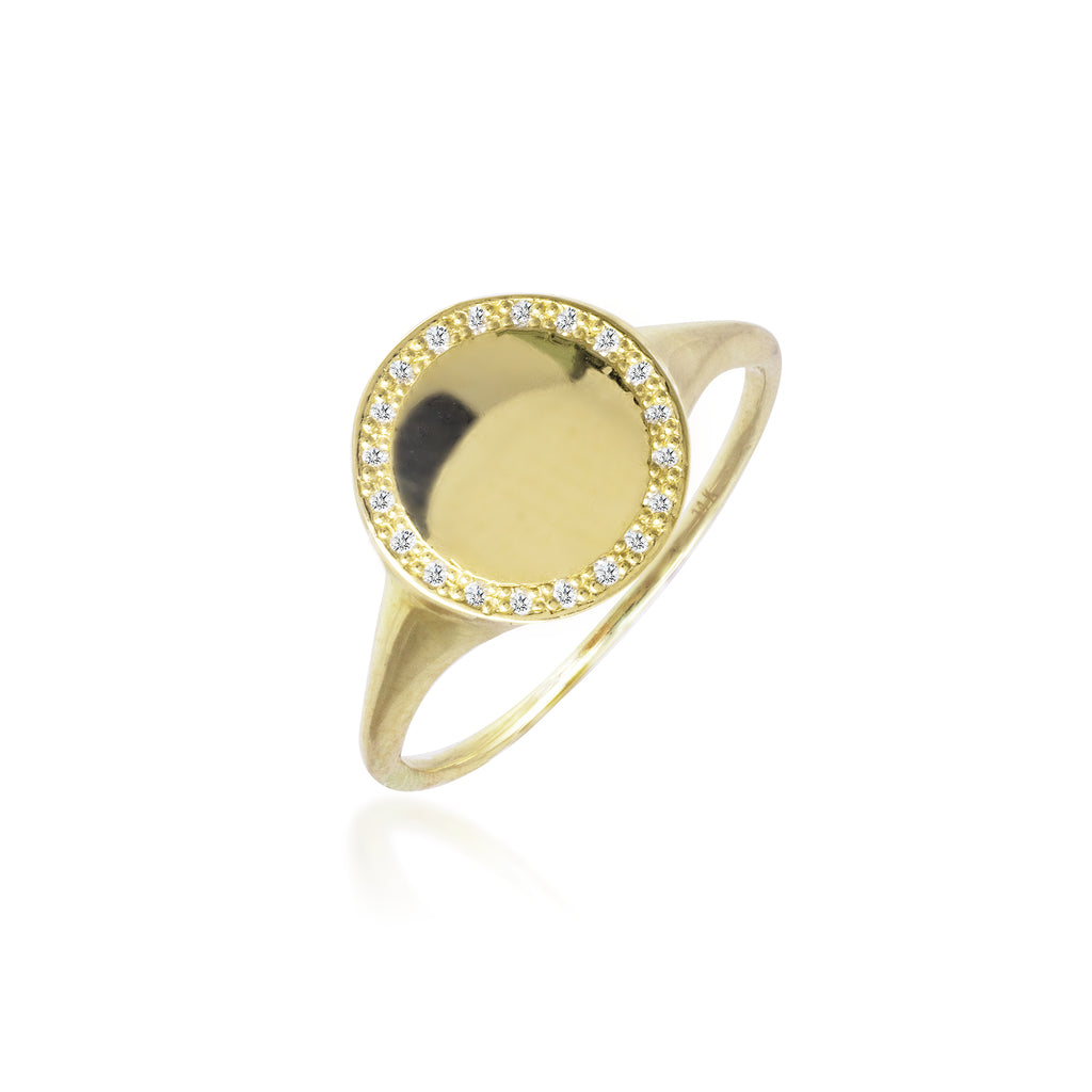 Yellow Gold Disk Ring with Diamond Halo