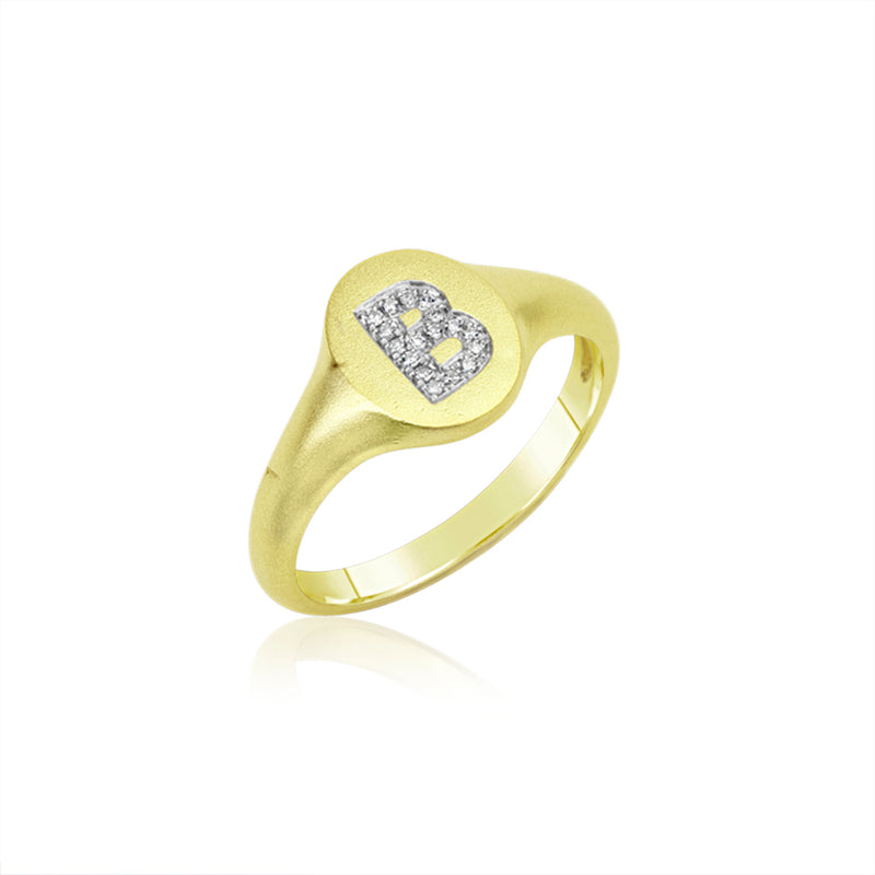 Initial Signet Diamond Ring