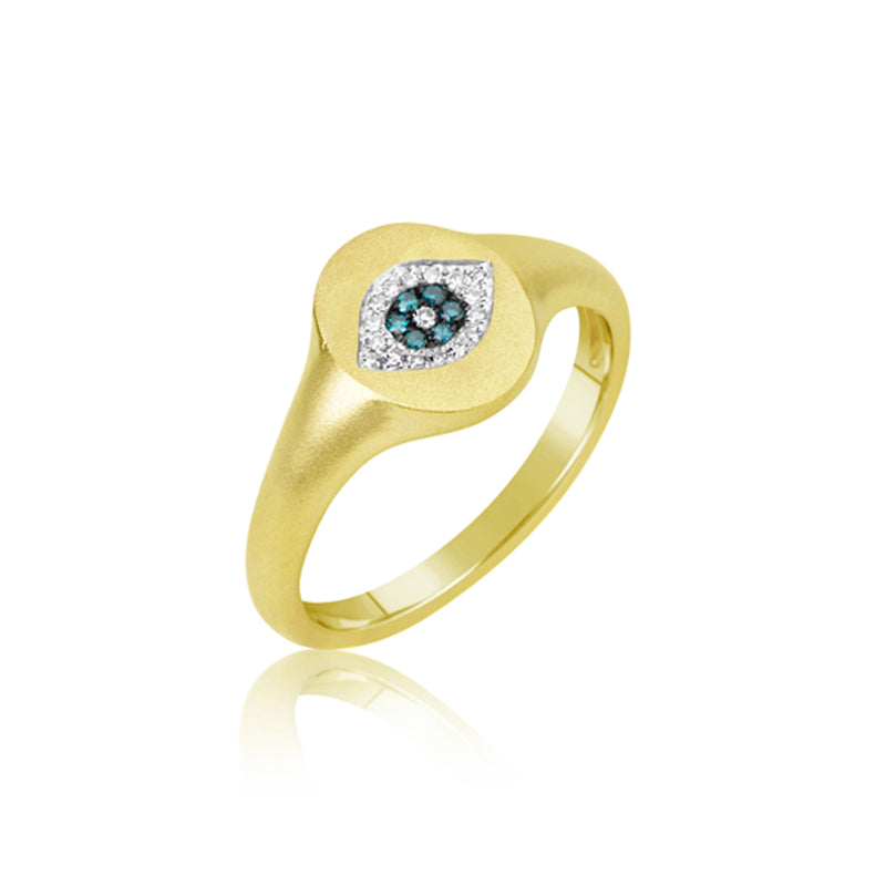 Evil Eye Signet Diamond Ring