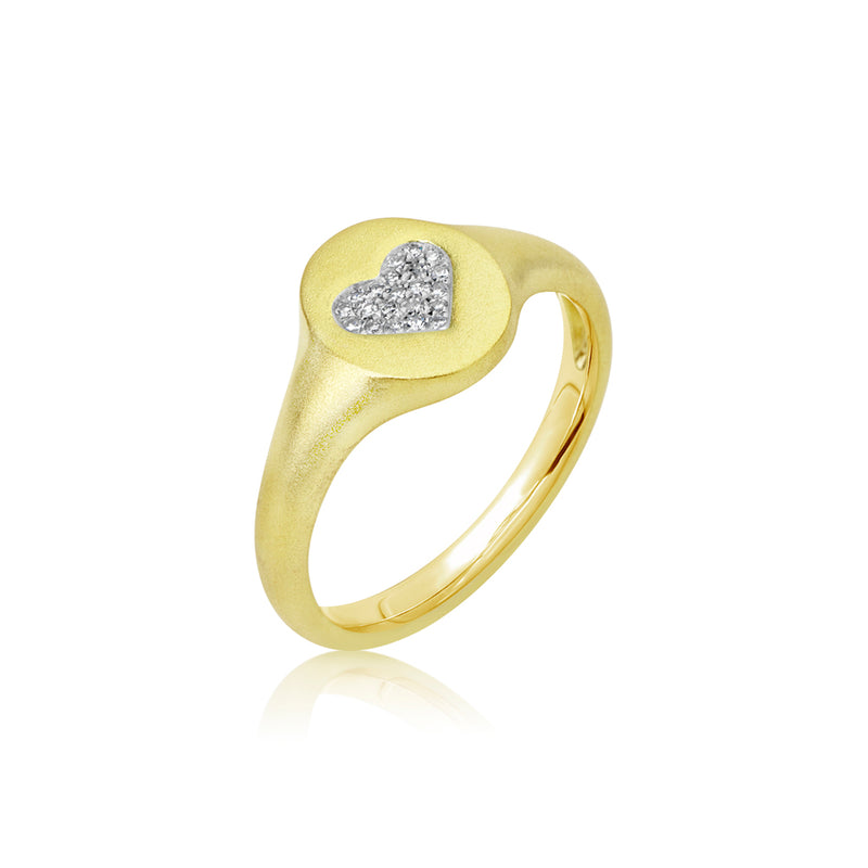 Heart Signet Diamond Ring
