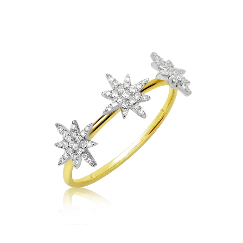 Triple Diamond Starburst Ring