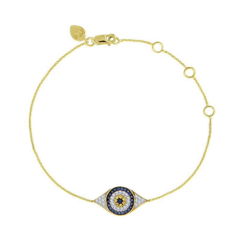 Evil Eye Bracelet Yellow Gold Diamonds Sapphires