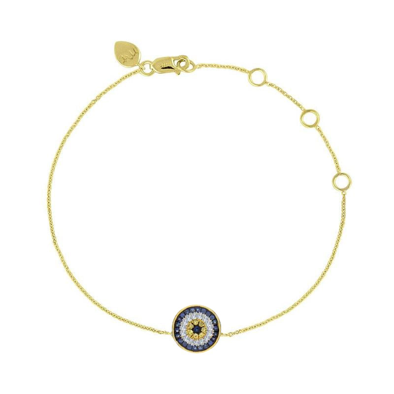 Round Evil Eye Diamonds and Sapphire Bracelet
