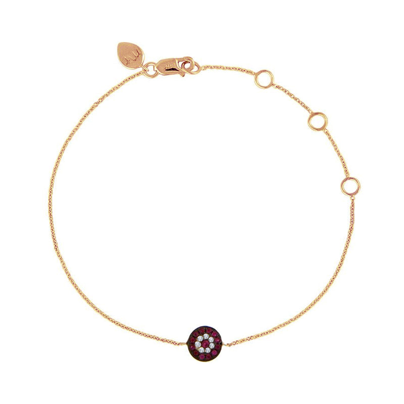Evil Eye Diamond Bracelet Rose Gold