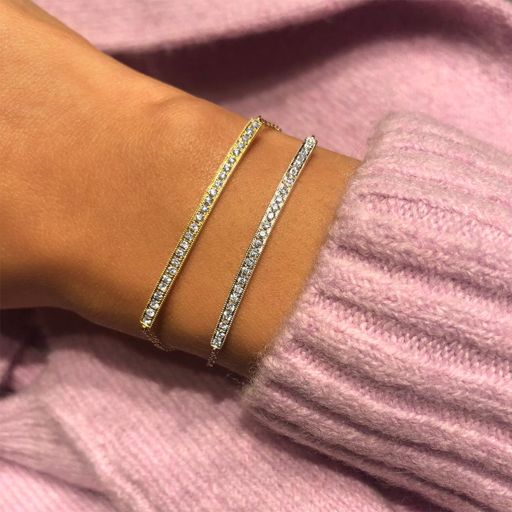 Gold Diamond Bar Chain Bracelet