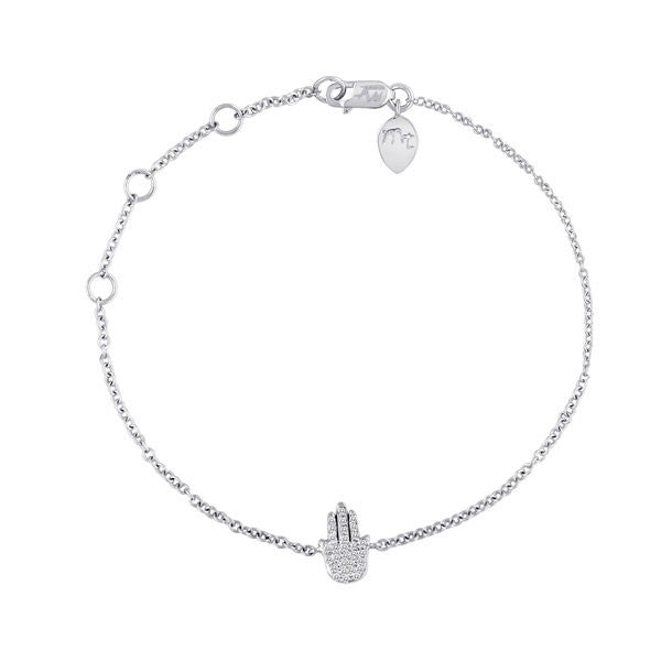 Hamsa Hand Bracelet White Gold and Diamonds