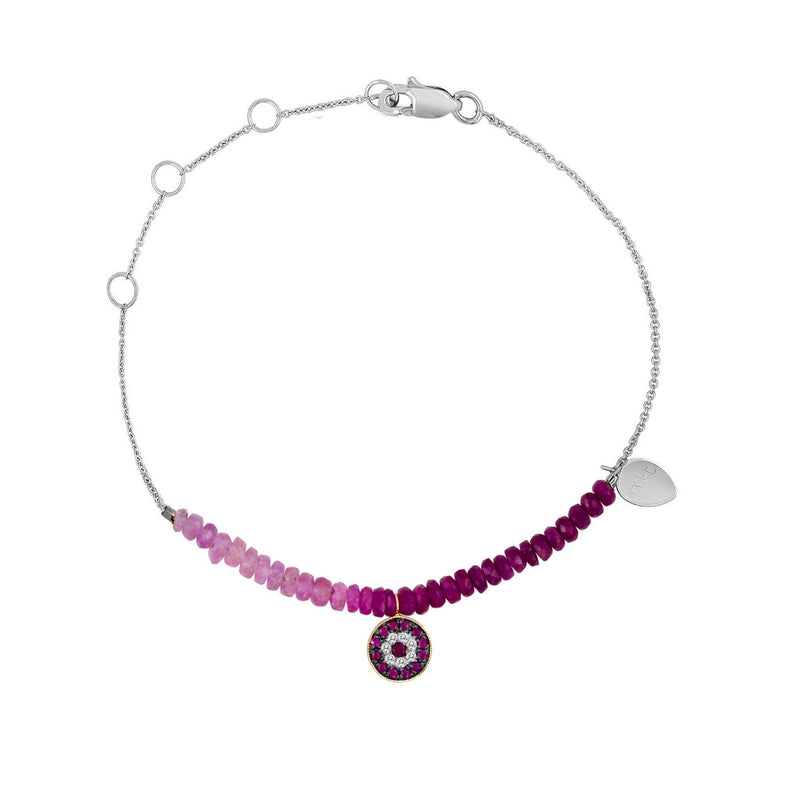 Ruby and Diamond Evil Eye Bracelet