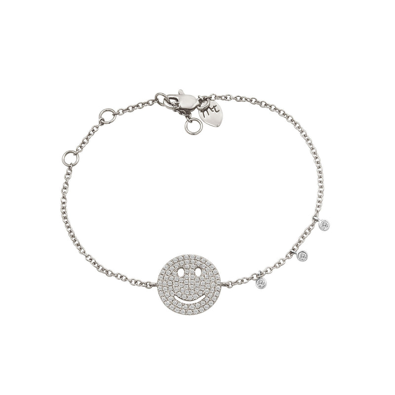 Diamond Happy Face Bracelet in White Gold
