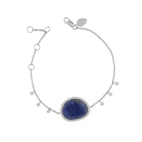 Blue Sapphire and Diamond Bezel White Gold Bracelet