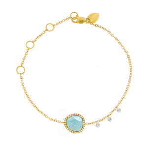 Yellow Gold Signature Milky Aqua Bracelet