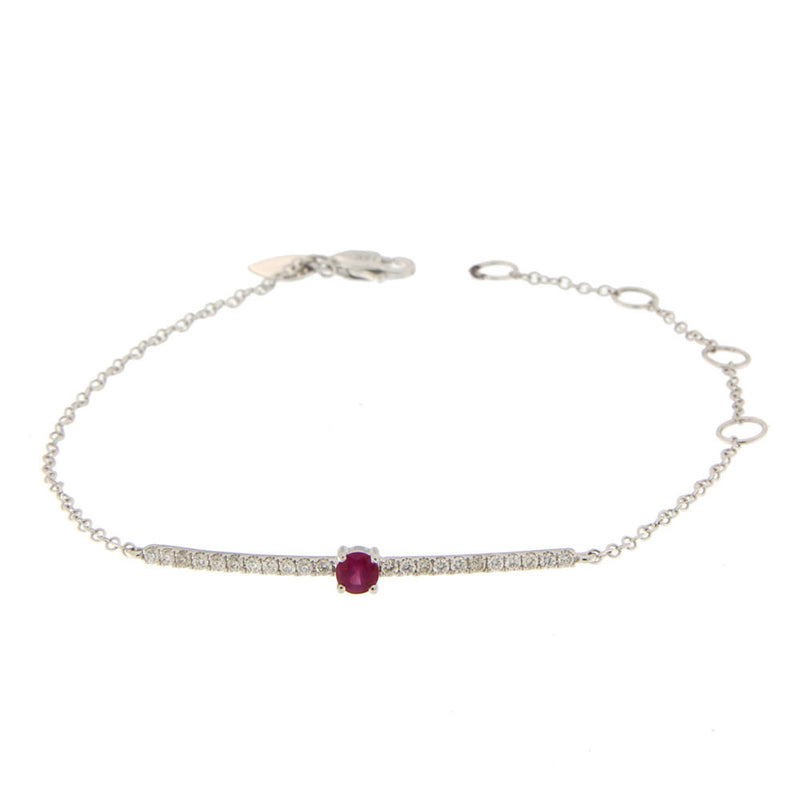 White Gold Diamond and Ruby Bracelet