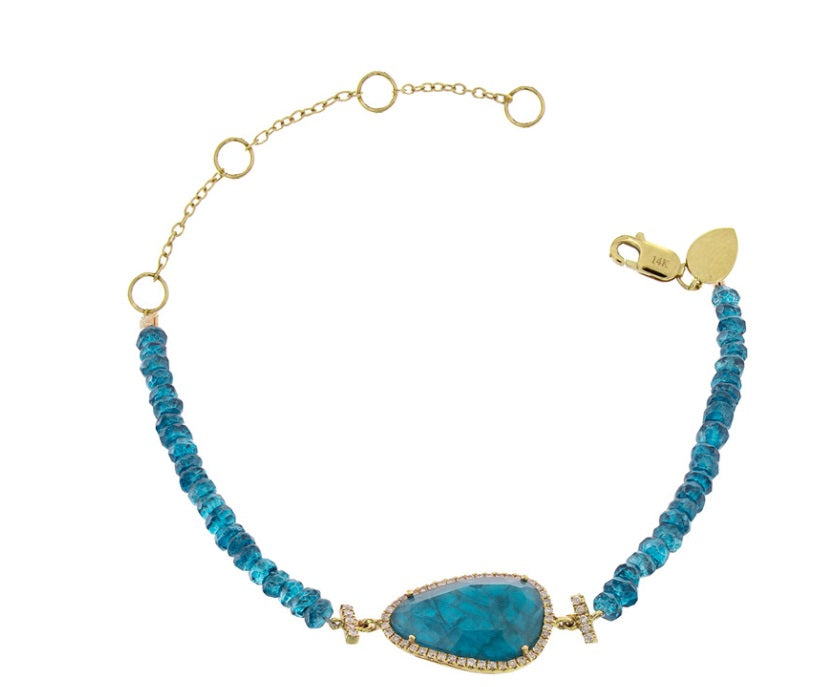 Apatite Yellow Gold Diamond Bracelet