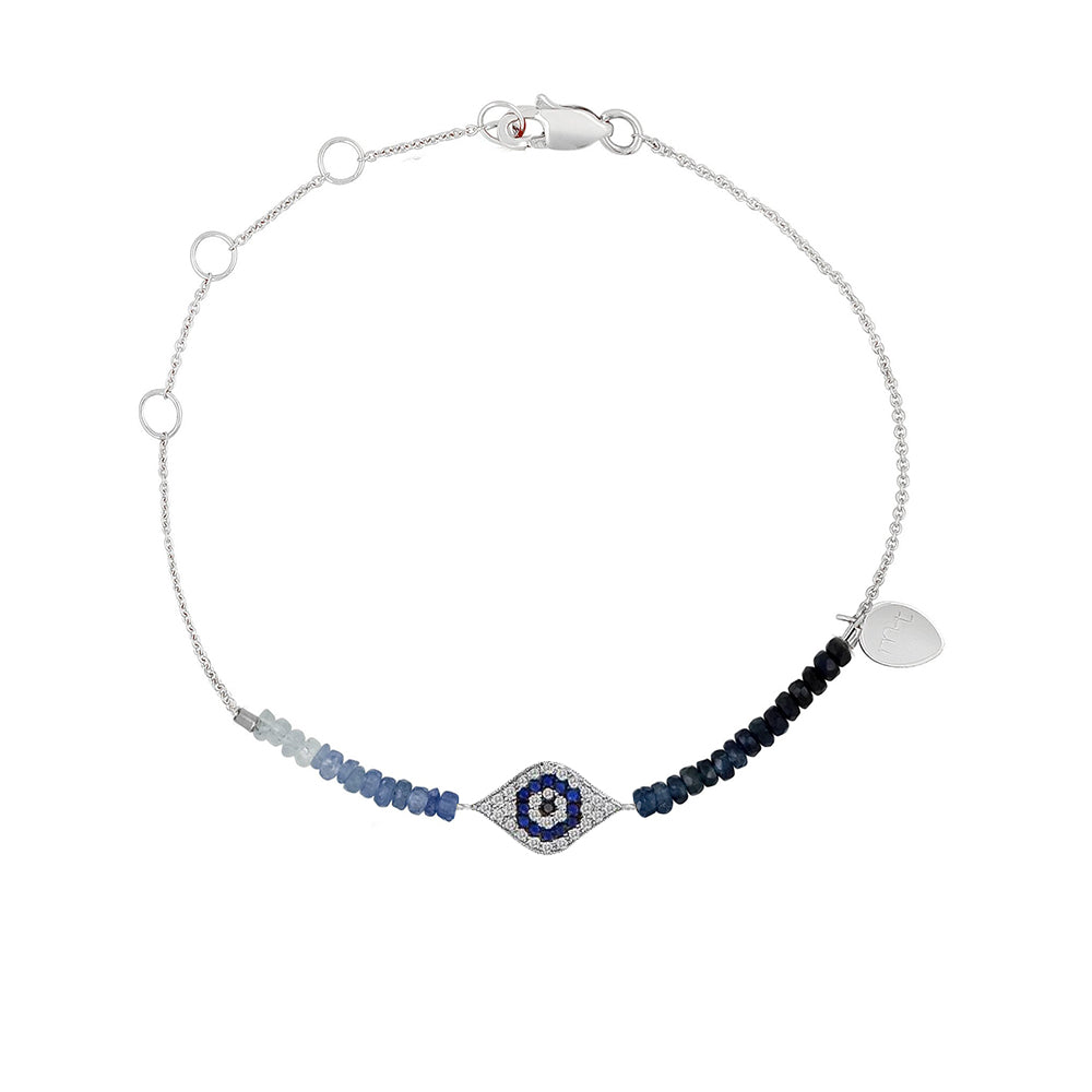 Yellow Gold Evil Eye Diamond and Sapphire Beaded Bracelet