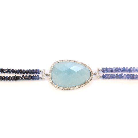 Milky Aqua, Diamonds, White Gold and Blue Sapphire Beads Bracelets