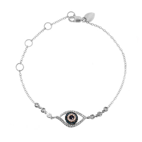 Evil Eye Bracelet White Gold and Blue Sapphire