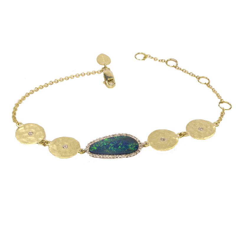 Yellow Gold Diamond Opal Bracelet