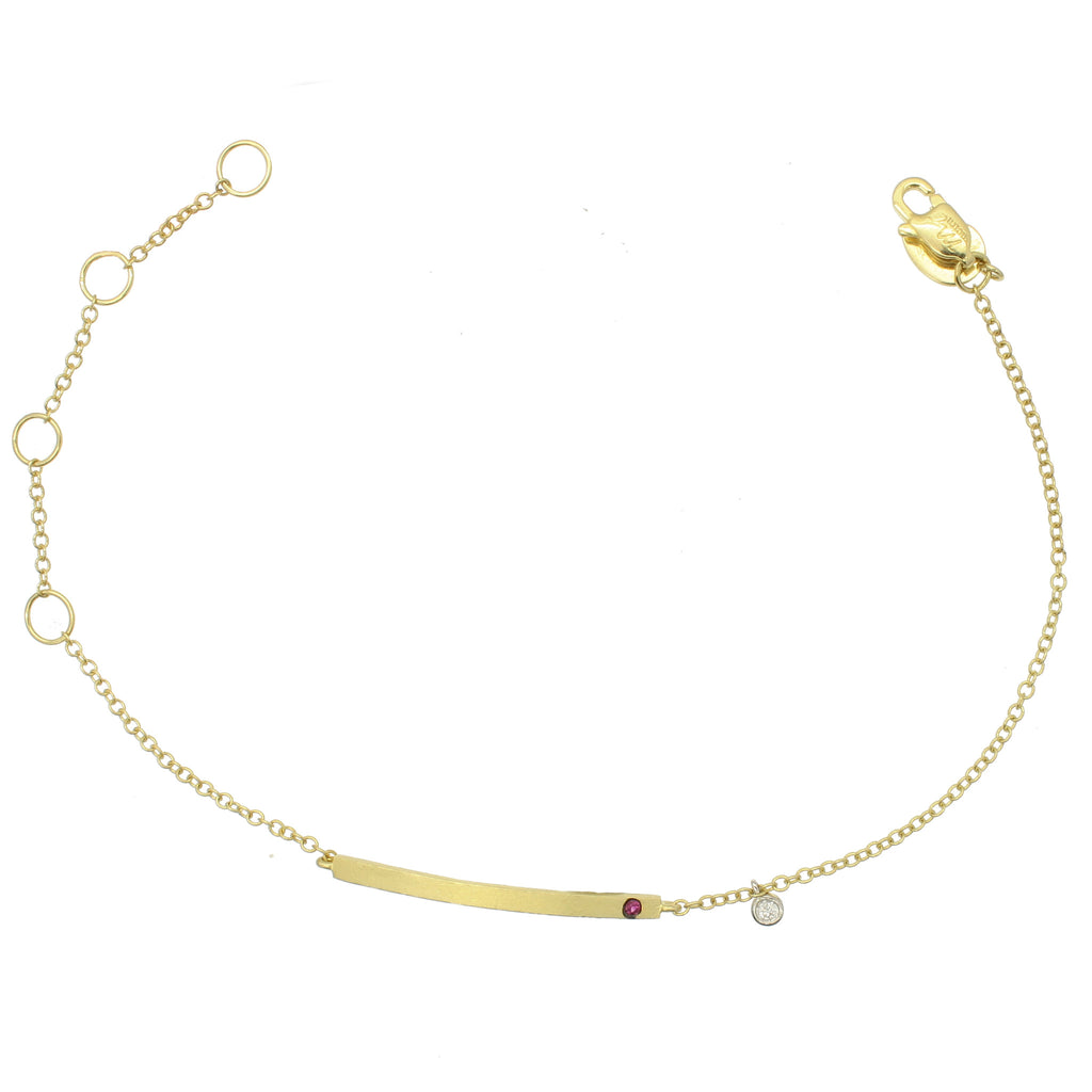 Meira T Yellow Gold Ruby and Diamond ID Bracelet