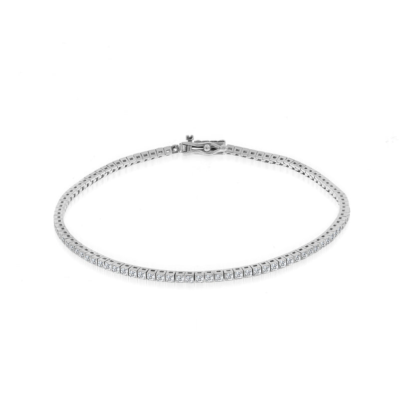 White Gold Square Tennis Bracelet