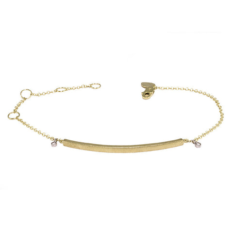 Yellow Gold Bar Bracelet with Diamond Accent