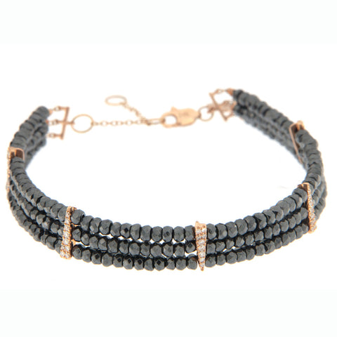 Rose Gold Spike Layered Pyrite Bracelet