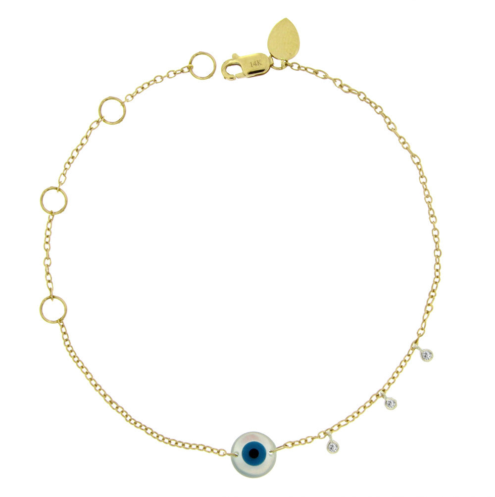 enamel diamond, bezel, evil eye, eye, charm, bracelet, yellow gold, gold, yellow, blue eye