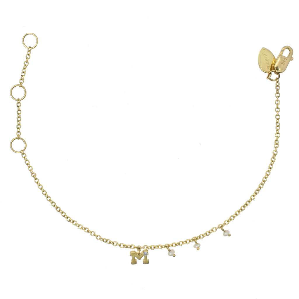 Meira T Initial Diamond and Pearl Bracelet