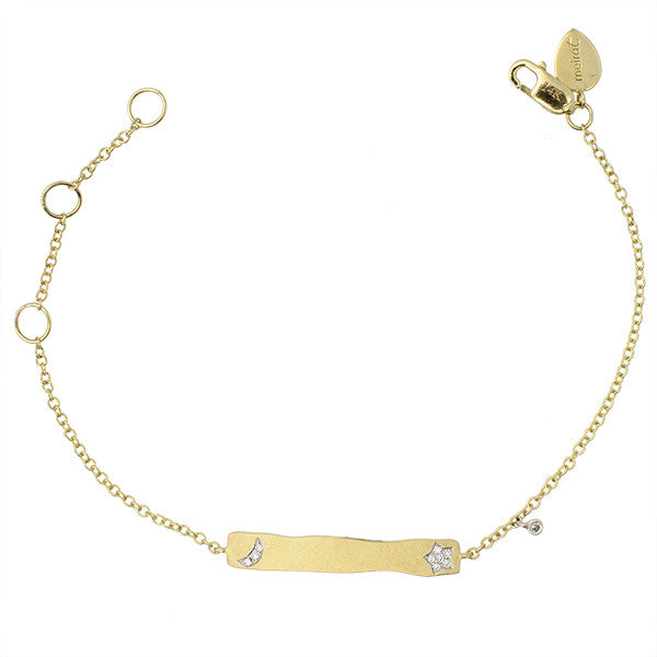Meira T Children's Line Yellow Gold Moon and Star Diamond ID Bracelet